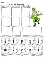 FREE Printable St. Patrick's Day Shamrock Number Ordering Worksheet Numbers 1-10!