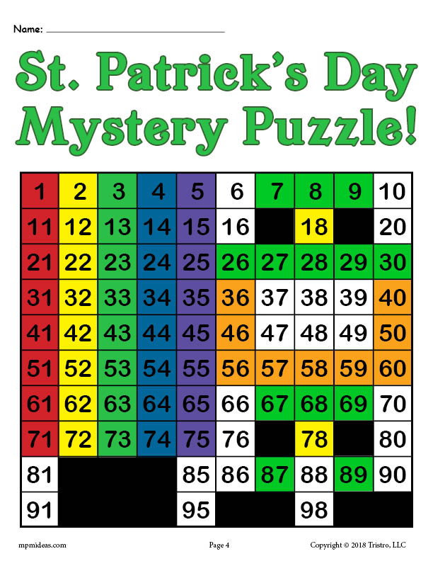 FREE Printable St. Patrick's Day Place Value Mystery Picture!