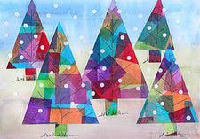 Colorful Stained Glass Christmas Trees