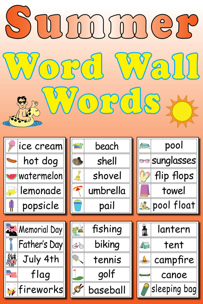 graphic about Word Wall Printable titled 30 Summer season Term Wall Terms