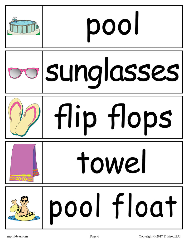30 Summer Word Wall Words