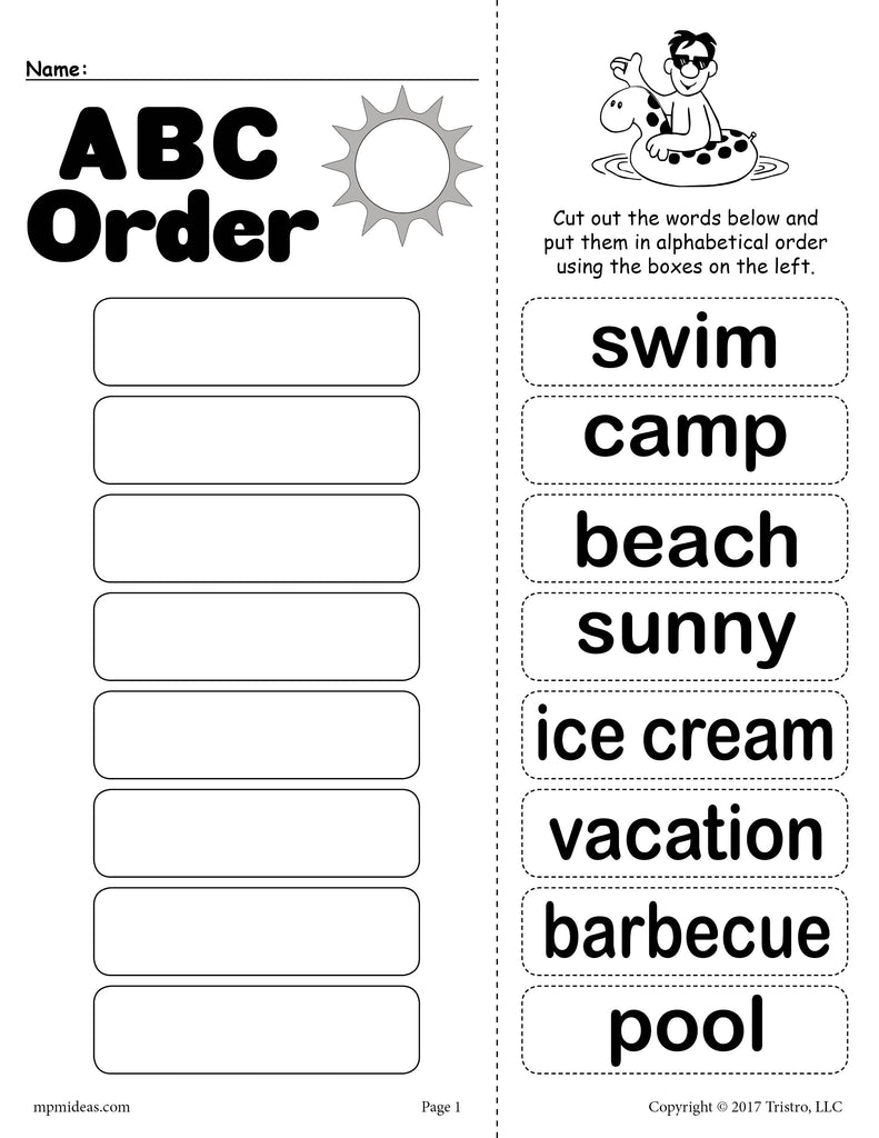 Worksheets Abc Order Worksheets free summer alphabetical order worksheet supplyme worksheet