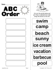 Summer Alphabetical Order Worksheet!
