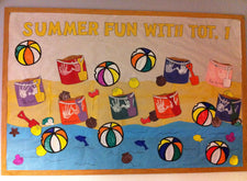 """Summer Fun"" Beach Theme Bulletin Board Idea"