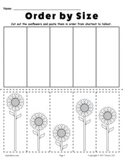FREE Printable Sunflower Ordering Worksheets: Shortest to Tallest & Tallest to Shortest!