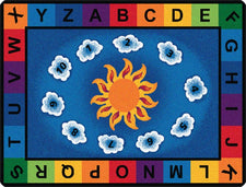 "Sunny Day Learn & Play Alphabet Classroom Rug, 5'10"" x 8'4"" Rectangle"