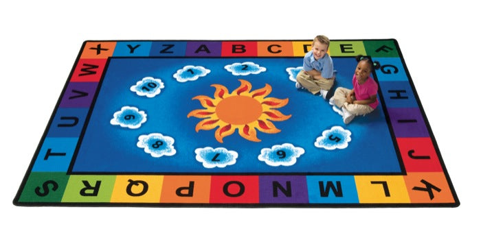 "Sunny Day Learn & Play Alphabet Classroom Circle Time Rug, 8'4"" x 11'8"" Rectangle"