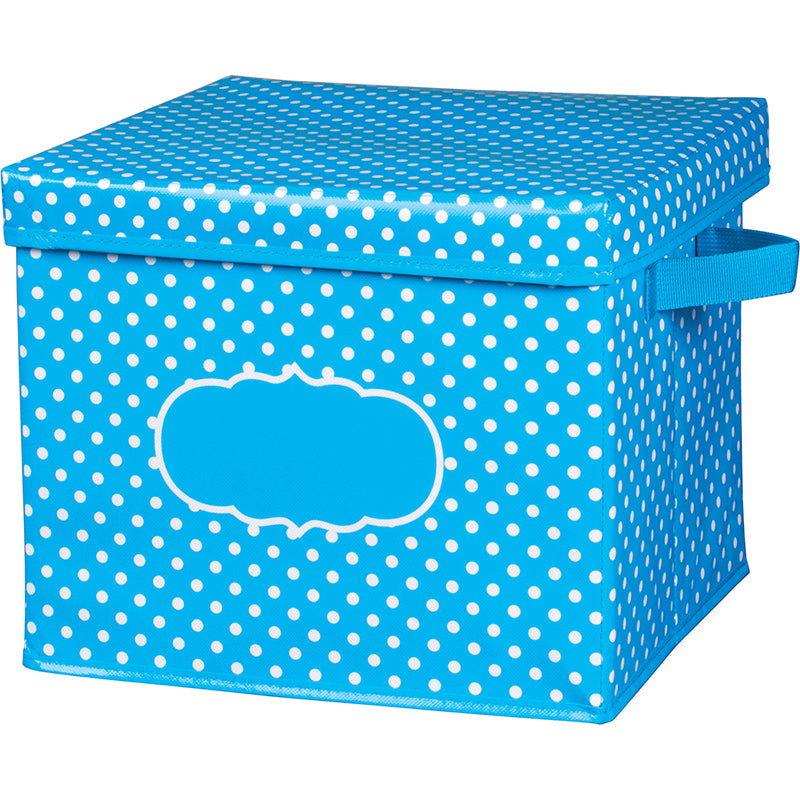 Aqua Polka Dots Storage Box