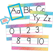 Colorful Scribble Alphabet Line Bulletin Board Set