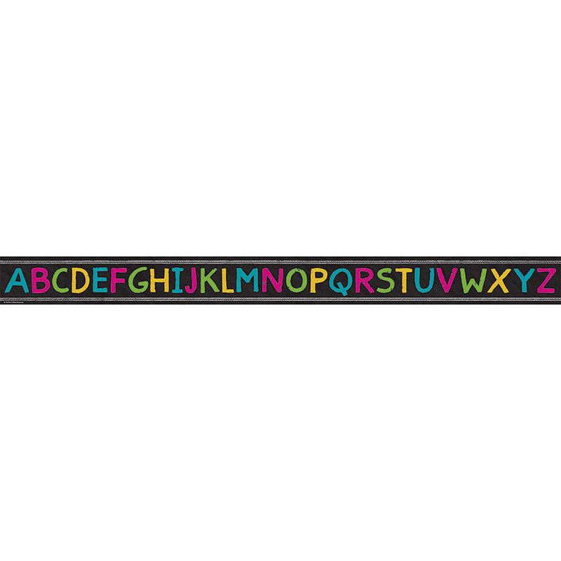 Chalkboard Brights Alphabet Straight Bulletin Board Border Trim