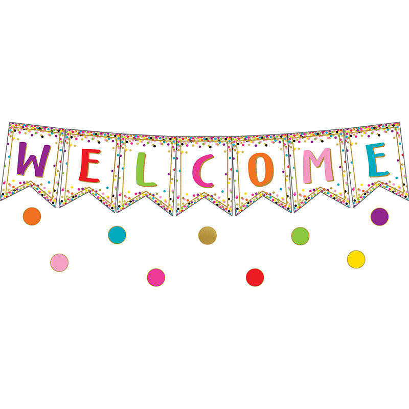 Confetti Pennants Welcome Bulletin Board Set