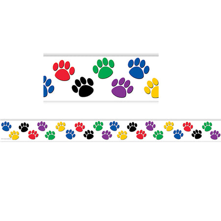 Colorful Paw Prints Straight Border Trim  sc 1 st  SupplyMe : paw print paper plates - pezcame.com