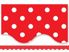 Red Mini Polka Dots Scalloped Border Trim