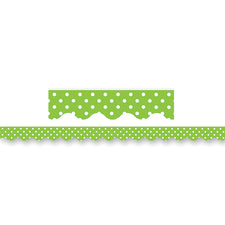 Lime Mini Polka Dots Scalloped Border Trim
