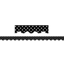 Black & White Polka Dot Bulletin Board Border, Scalloped
