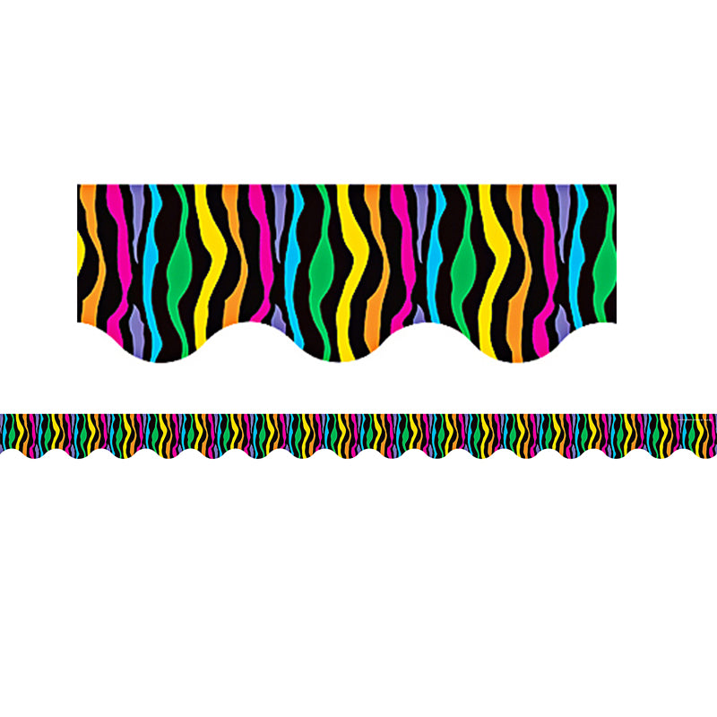 Colorful Wild Stripes Bulletin Board Border Scalloped