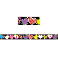 Fancy Hearts Straight Border Trim