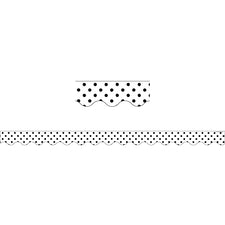Black Polka Dots on White Scalloped Bulletin Board Border