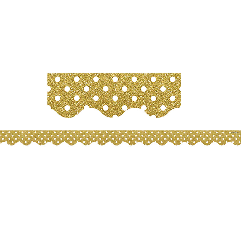 Gold Shimmer Polka Dots Scalloped Bulletin Board Border