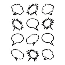 Black & White Speech-Thought Bubbles Mini Accents