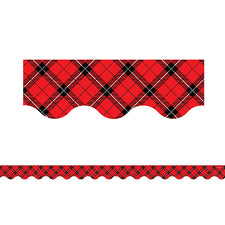 Red Plaid Scalloped Bulletin Board Border