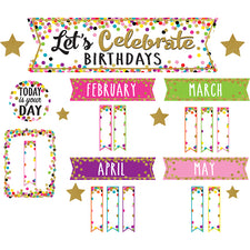 Confetti Let's Celebrate Birthdays Mini Bulletin Board Set
