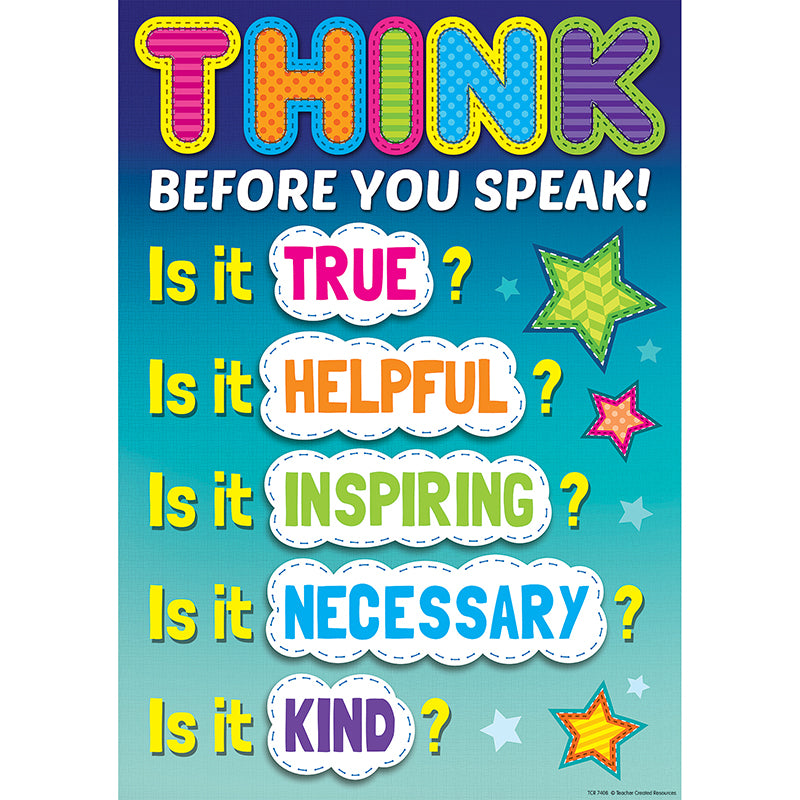 Think Before You Speak Positive Poster