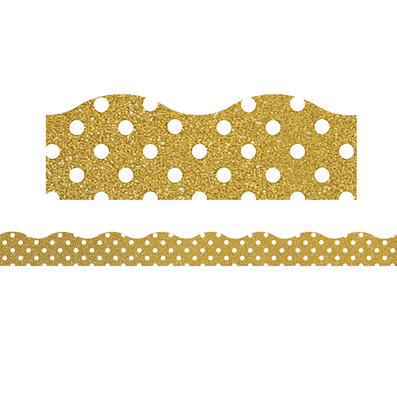 Clingy Thingies: Gold Shimmer with White Polka Dots Bulletin Board Borders