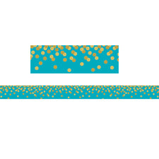 Teal Confetti Straight Bulletin Board Border
