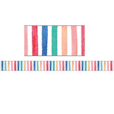 Watercolor Stripes Straight Bulletin Board Border