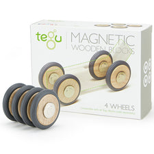 Tegu Magnetic Wooden Wheels, Set of 4