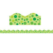 Green Polka Dots Bulletin Board Border, Scalloped
