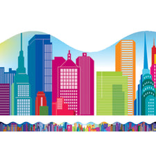 Colorful City Skyline Bulletin Board Border, Scalloped
