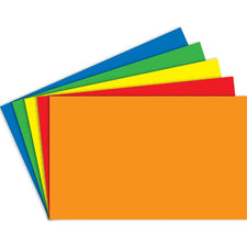 "Primary Assorted Color 5"" x 8"" Blank Index Cards, 100 Count"