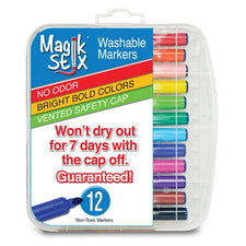 Magic Stix Washable Markers, 12 Pack