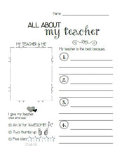 """All About My Teacher"" Printable"