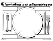 """My Favorite Things To Eat On Thanksgiving"" Printable Worksheet!"