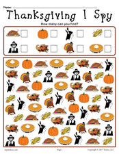 Thanksgiving I Spy - FREE Printable Thanksgiving Counting Worksheet!