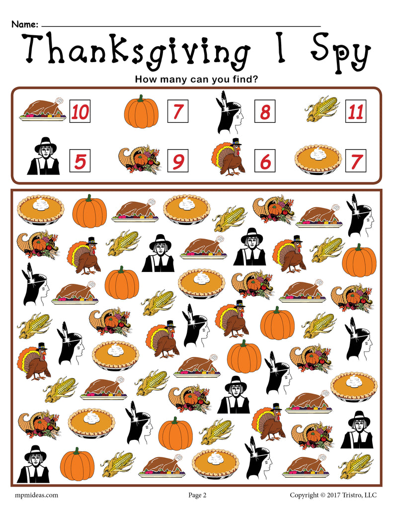 Thanksgiving I Spy - Printable Thanksgiving Counting Worksheet!