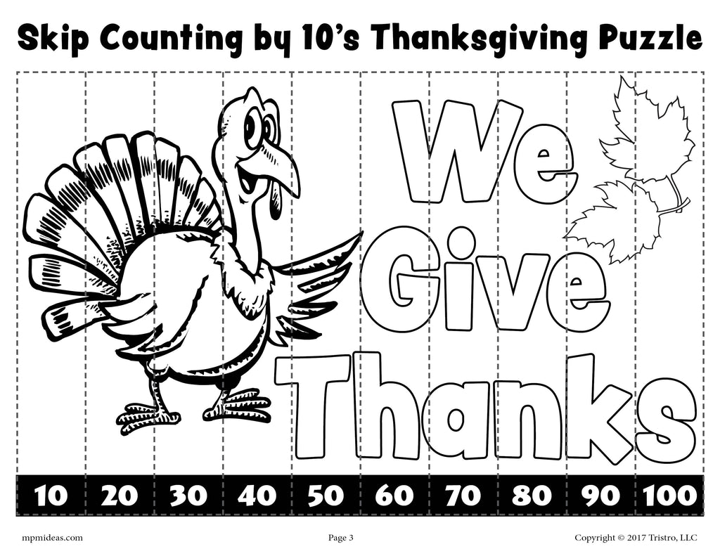 Thanksgiving Skip Counting By 10s Worksheet - Black & White