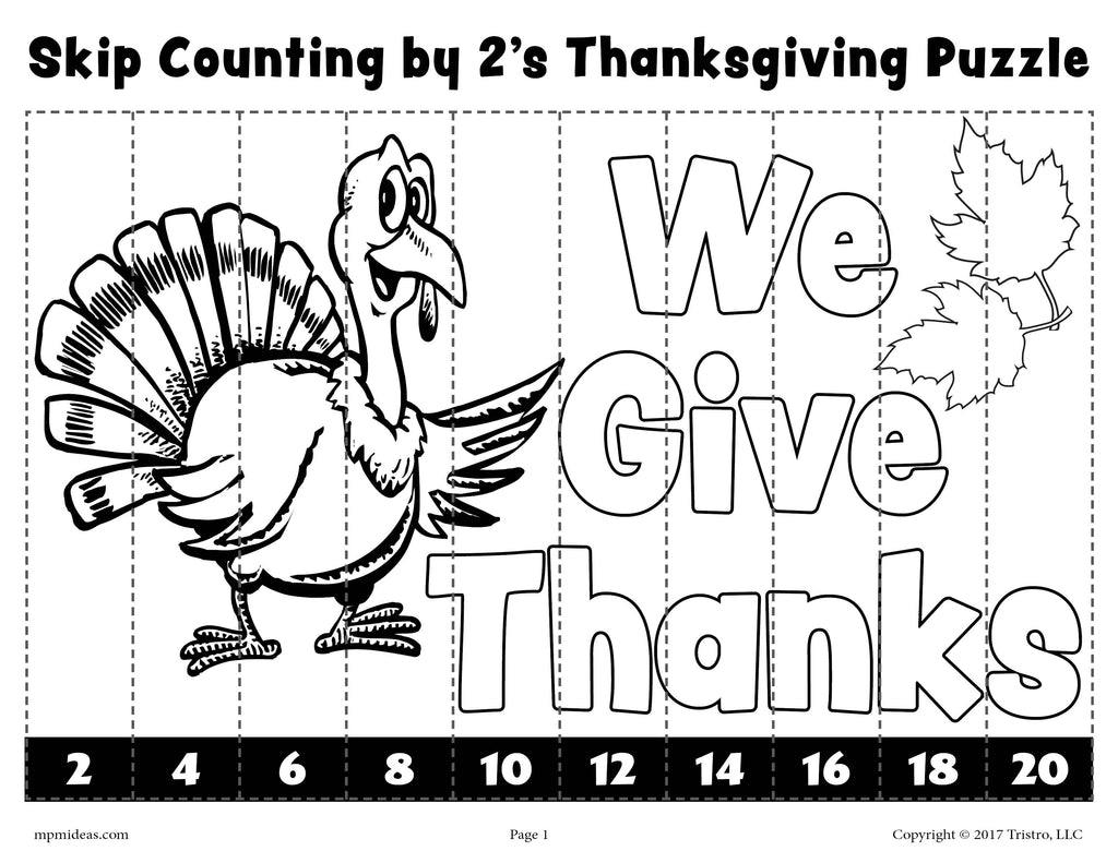 Thanksgiving Skip Counting By 2s Worksheet - Black & White