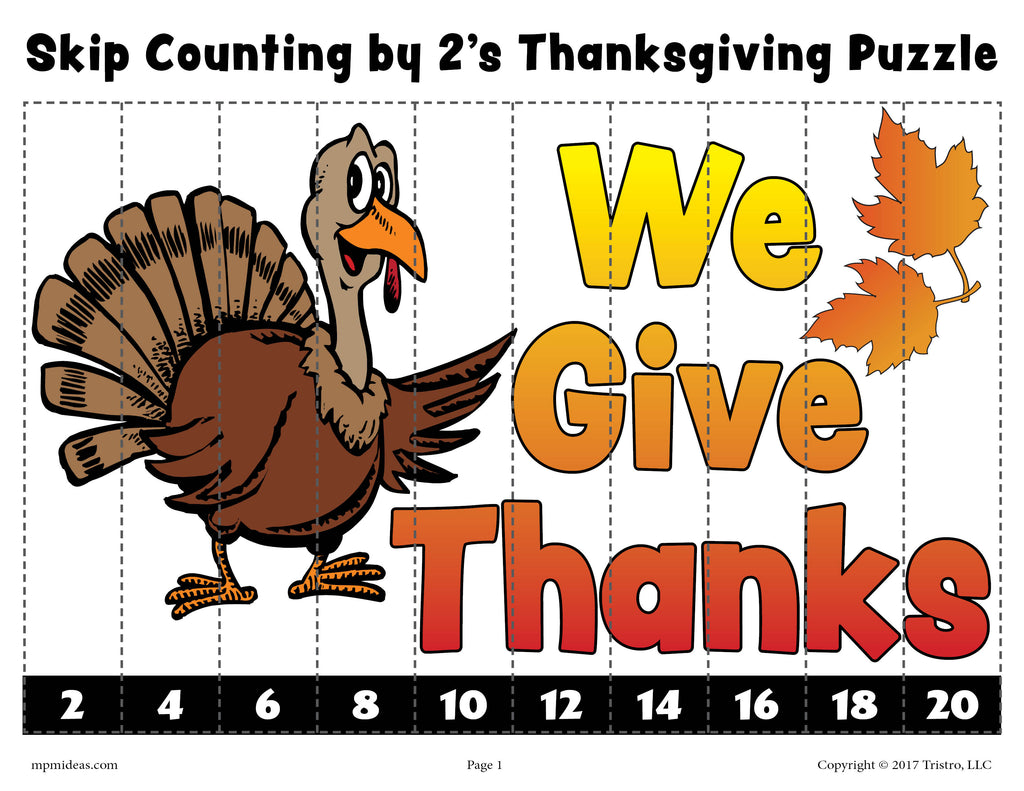 Thanksgiving Skip Counting By 2s Worksheet - Color