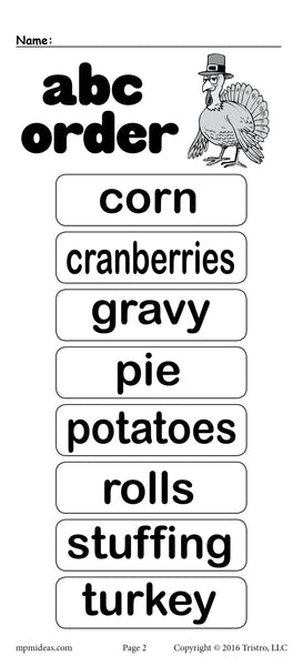 FREE Thanksgiving Themed Alphabetical Order Worksheet