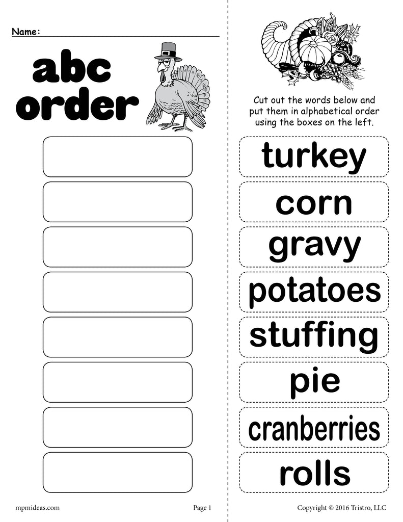 Thanksgiving Themed Alphabetical Order Worksheet!