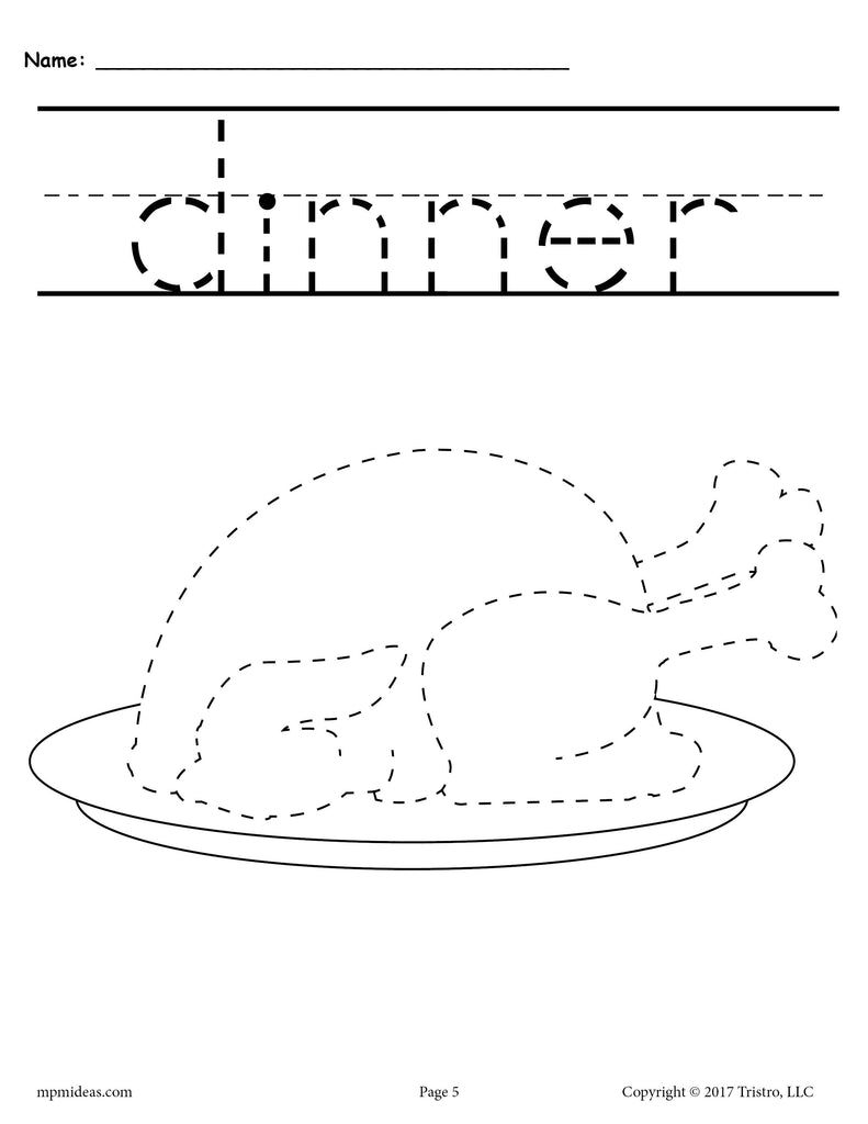 Cooked Turkey Thanksgiving Tracing and Pre-Handwriting Worksheet