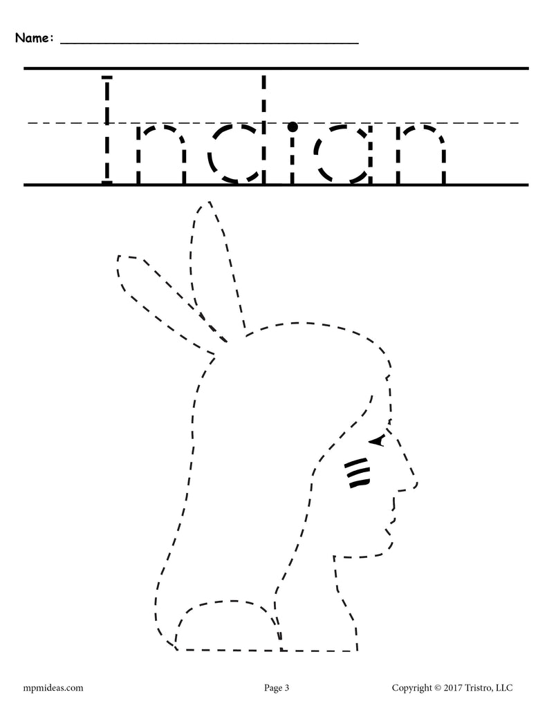 Indian Thanksgiving Tracing and Pre-Handwriting Worksheet