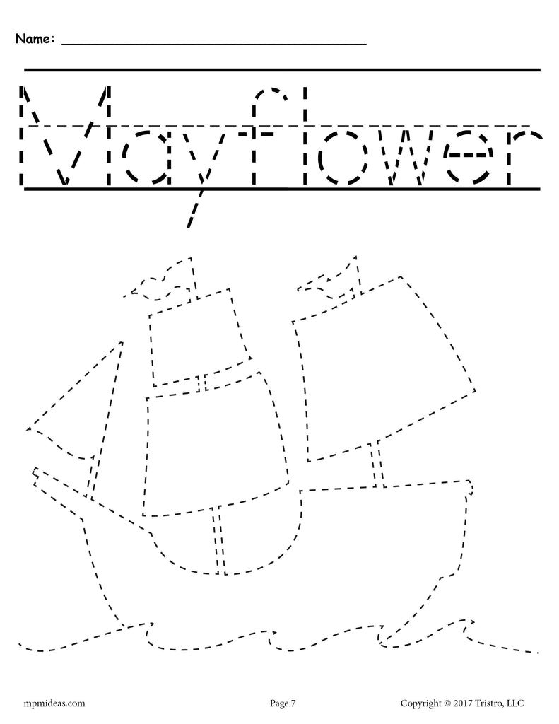Mayflower Thanksgiving Tracing and Pre-Handwriting Worksheet