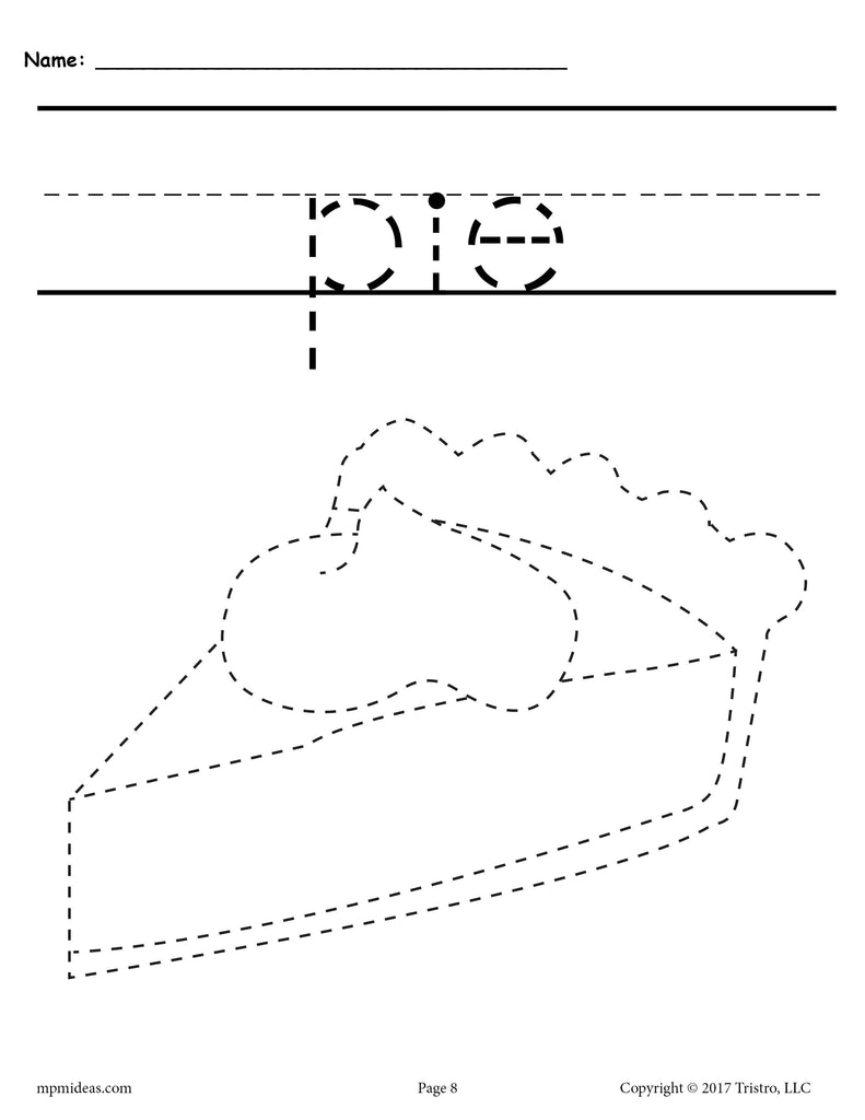 Thanksgiving Pie Tracing and Pre-Handwriting Worksheet