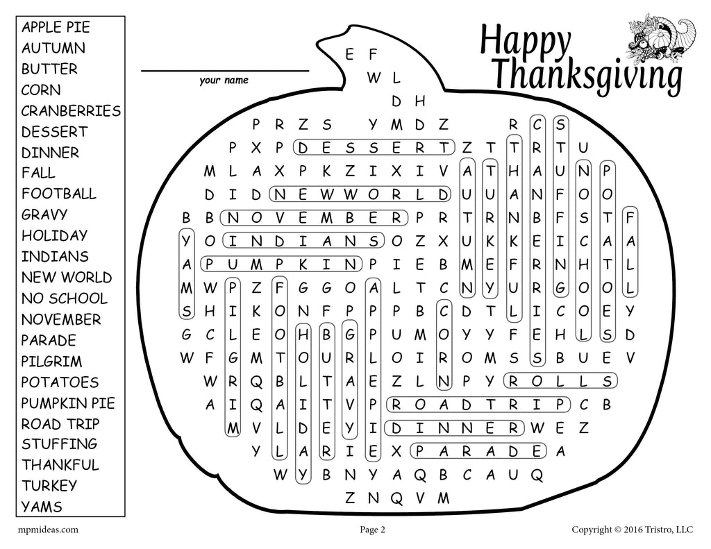 Free Printable Thanksgiving Word Search Supplyme