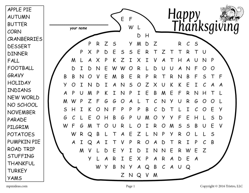image relating to Thanksgiving Word Search Printable Free named Thanksgiving Phrase Look Printable Cost-free